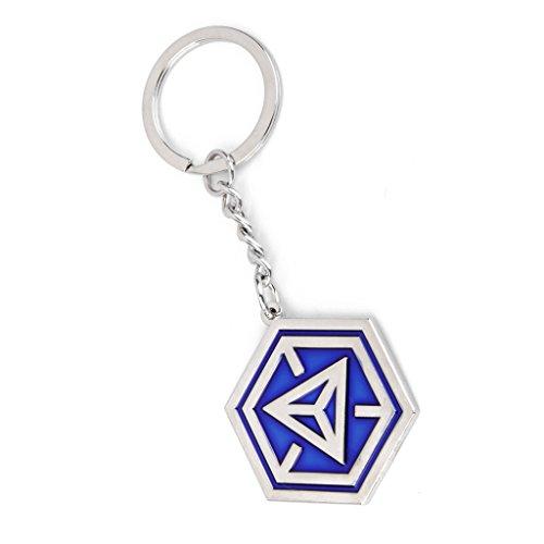 Ingress Blue NIA Hexagon Logo Keychain 40mm