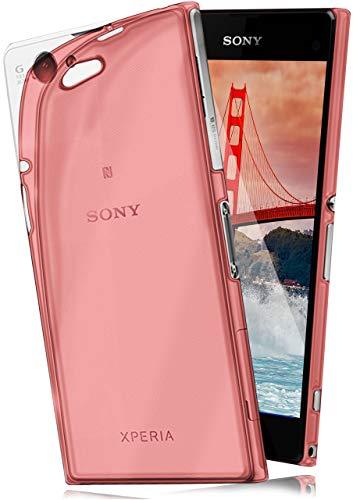 moex Aero Case kompatibel mit Sony Xperia Z1 Compact - Hülle aus Silikon, komplett transparent, Klarsicht Handy Schutzhülle Ultra dünn, Handyhülle durchsichtig einfarbig, Rot