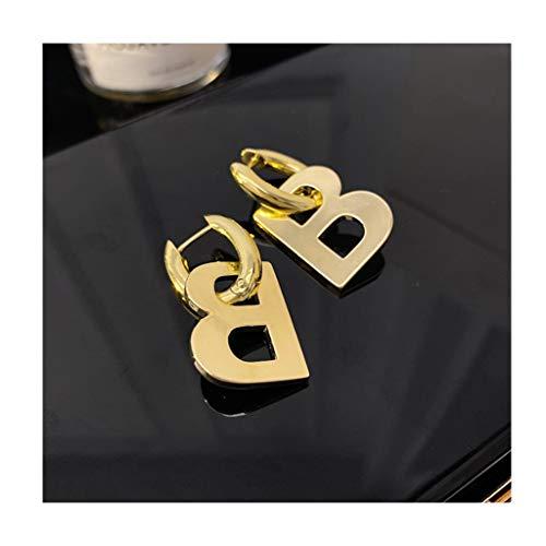 didi Pendientes de metal con letra B, personalizables, para amigas y novias, color dorado