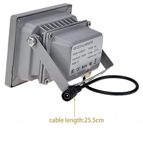 VIKYLIN Infrared Illuminator 850nm 6 LEDs 60 Degrees Wide Angle IR Illuminator IP67 Waterproof Night Vision LED Infrared Light for IP Camera, CCTV Security Camera