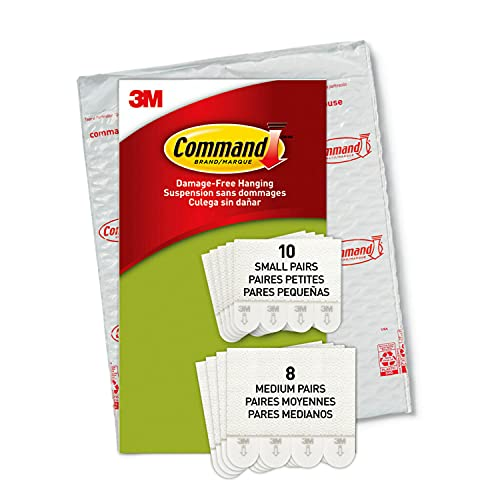 Command Picture Hanging Strips, 18 Pairs: 10-Small, 8-Medium Pairs, Easy to Open Packaging