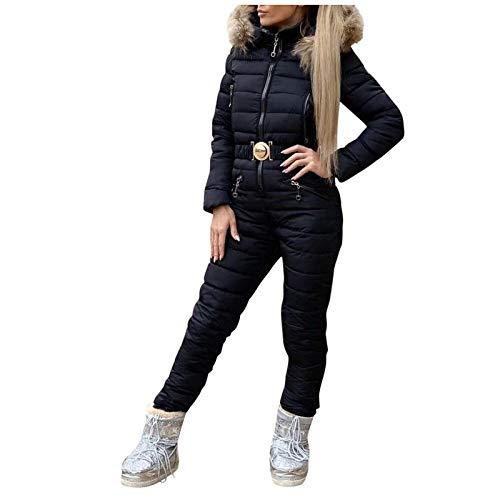 Blingko Damen Skianzug Anzug Winter Warme Schneeanzug Einteiliger Schnee Skifahren Sätze Wasserdicht Skioverall mit Kunstfellkapuze Skioverall Skianzüge Jumpsuit (Schwarz, XL)