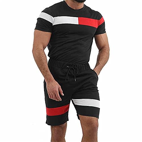 Correr Shirt Hombre Moderno Cuello Redondo Ajustado Elástico Hombre Muscular Shirt Verano Empalme Moda...