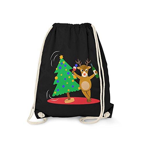 Fashionalarm Turnbeutel - Betrunkenes Rentier | Fun Rucksack mit lustigem Motiv Geschenk Idee zu Weihnachten Heiligabend Nikolaus Weihnachtsbaum, Farbe:schwarz