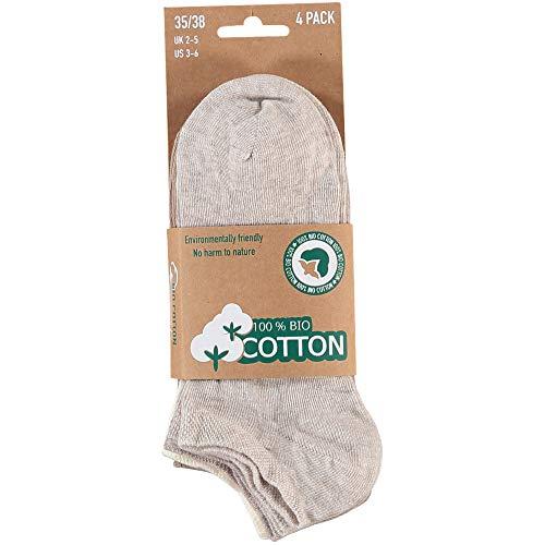 Lieblingsstrumpf24 8 Paar Bio Baumwolle Füsslinge Sneaker Socken ohne Naht Öko-Tex Standard 100 (39-42, Beige-Töne)