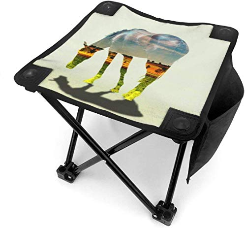 liang4268 Camping Hocker Landscape Painting in Horse Folding Camping Stool Lightweight Chairs Portable Seat for Adults Fishing Hiking Gardening and Beach with Carry Bag