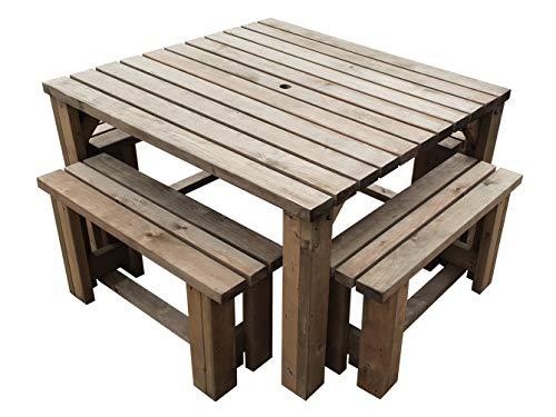 QUADRUM - Picnic Table With 4 Benches Space Saving Garden Furniture - Heavy...