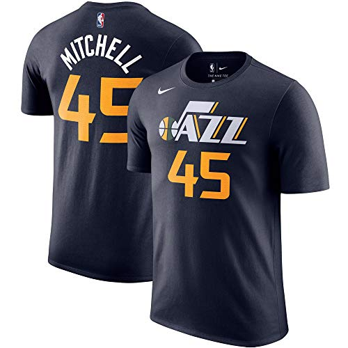 Nike Donovan Mitchell Utah Jazz NBA Boys Youth 8-20 Navy Player Name & Number T-Shirt (Youth Medium 10-12)