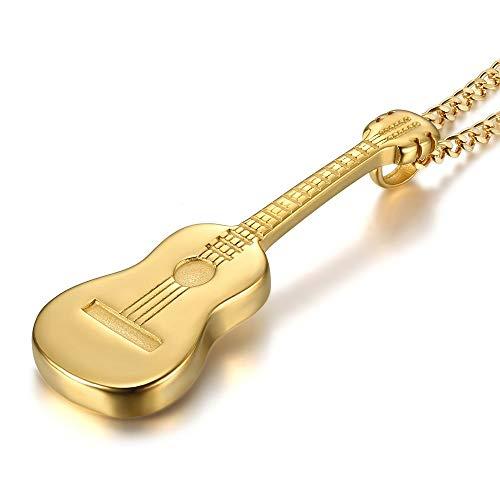 LE BAGACIER - Colgante, Collar De Hombre De La Guitarra Gitana Viajero De Acero Dorado Plateado Oro+Cadena