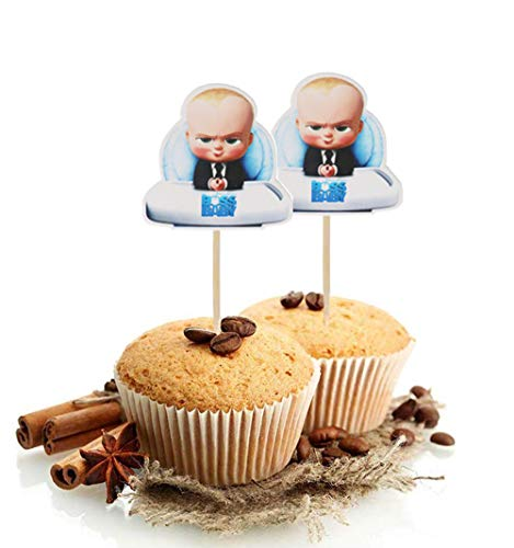 24 Serves Baby Boss Cupcake Toppers Birthday Cake Decorations for Baby Boss Themed Birthday Party Decorations Baby Shower Supplies and favors