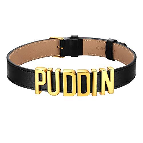 FOCALOOK Damen PU Leder Choker Kette goldfarben Metall Buchstaben Puddin Kurze Halskette 21mm breit Gotik Punk Collier Accessoire Modeschmuck für Party