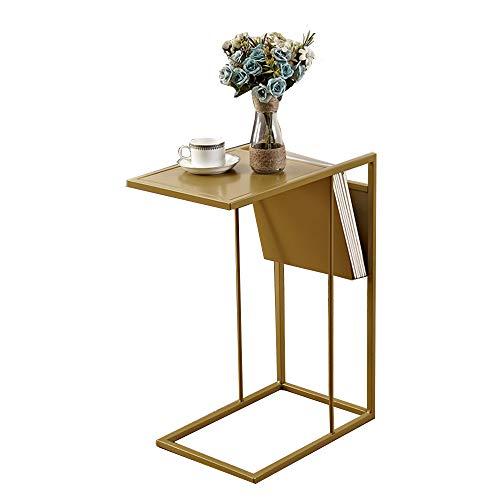 Klapptisch YANFEI, Metall C-förmigen Snack Tisch Beistelltisch Portable Laptop Couchtisch, Schwarz, Gold, Grau (48 * 30 * 64.5cm) (Farbe : Gold)