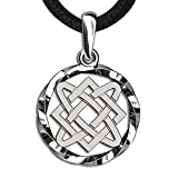 Celtic Knot Necklace Sterling Silver 925 Irish Triquetra Pendant Endless Knot Charm Symbol Norse Jewelry for Women (Endless Knot+Cord)