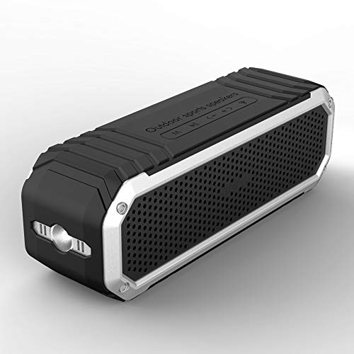 COMISO Bluetooth Speakers with Flashlight, Loud Dual Driver Wireless Bluetooth Speaker with HD Audio and Enhanced Bass, Wireless Stereo, Built in Mic, Aux Input, Long-Lasting Battery Life (Silver)