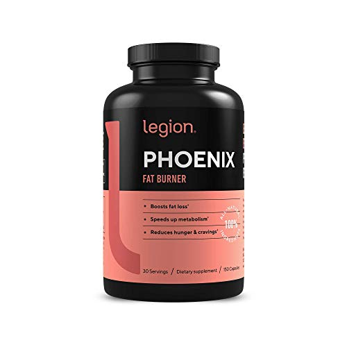 Legion Phoenix Thermogenic Fat Burners & Weight Loss Pills for Men & Women - 100% Natural & Caffeine Free Dietary Supplements with Metabolism Booster and Appetite Suppressant - 30 Serv, 150 Capsules