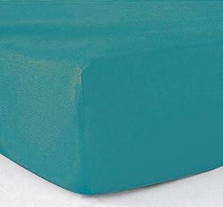 Le linge de Jules Drap-Housse 140x190 100% Coton 57 Fils Turquoise