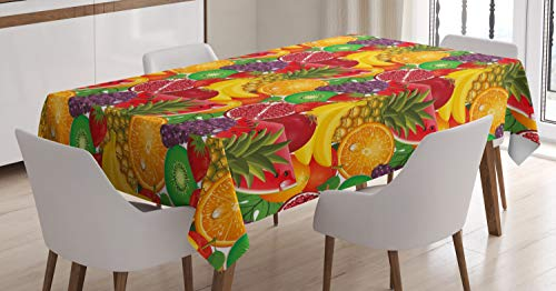 ABAKUHAUS Vistoso Mantele, Frutas Tropicales Frescas, Resistente al Agua Apto Uso Exterior e Interior No Destiñen, 140 x 200 cm, Multicolor