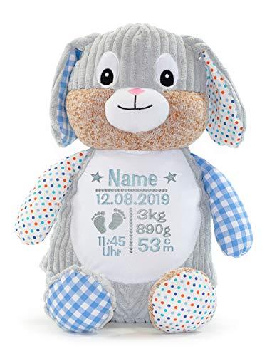 Cubbies Stofftier Teddy Bär, Einhorn, Rentier, Hase, Giraffe, Tiger, Elefant Geschenk mit Namen und Geburtsdatum personalisiert Bestickt 40cm (Hase Blau)