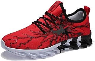 FYXKGLa Men's Sports Shoes Autumn Men's Shoes Casual Breathable Running Shoes Couples Wild Net Shoes Shoes (Color : Black-red, Size : 44EU)