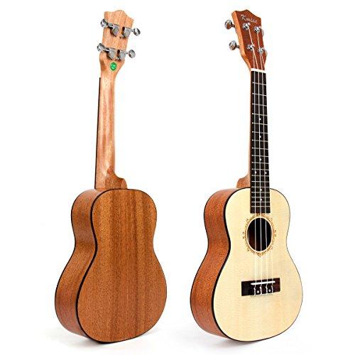 "Kmise 24"" Top Solid Spruce Concert Ukulele Hawaii Guitar professional UK-24B"