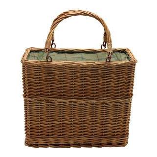 Grüne Tweed Retangular Wicker Cooler Basket