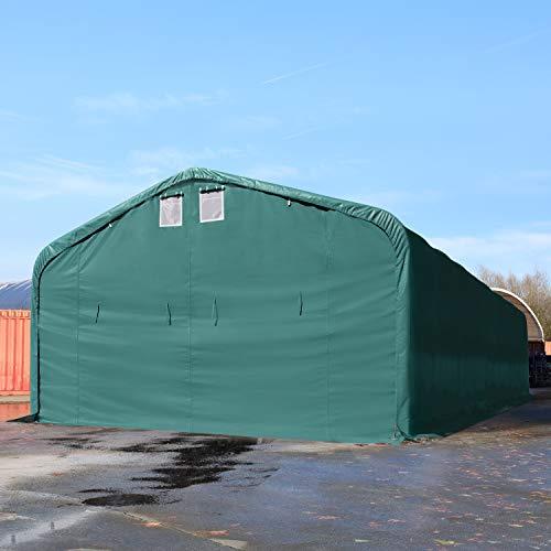 TOOLPORT Standsichere Lagerhalle/Lagerzelt 6 x 12 m/mit Statik feuersichere 720 g/m² PVC Plane Weidezelt dunkelgrün - 3