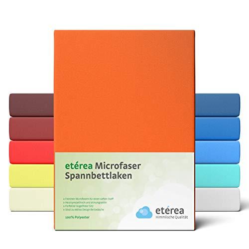 #2 Etérea Classic Microfaser Interlock Spannbettlaken, Spannbetttuch, Bettlaken, 180x200 - 200x200 cm, Orange
