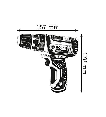 Bosch Professional 12V System GSB 12V-15 - Taladro percutor a batería (30 Nm, 1300 rpm, 2 baterías x 2.0 Ah, set 39 accesorios, en maletín de lona) - Amazon Edition [Exclusiva Amazon]
