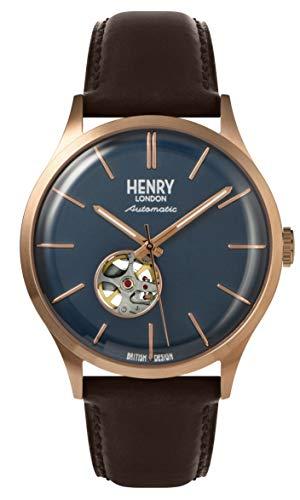 Henry London Herren Analog Quarz Uhr mit Leder Armband 5018479085973