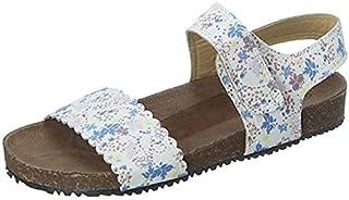 Skippy Velcro Closure Open Toe Sandals for Girls - White and Blue, 29 EU