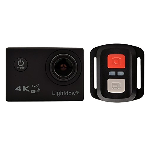 Lightdow 4K WiFi + 2.4G Remote Control Sports Action Camera Ultra HD Waterproof DV Camcorder with 170° Sony Sensor, 1 Battery and Mounting Accessories Kits