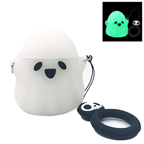Airpods Case, 3D Cute Cartoon Luminous Ghost Compatible with Apple Airpods 1&2, Airpods Accessories Shockproof Protective Silicone Cover and Skin for Apple Airpods Charging Case (Luminous)