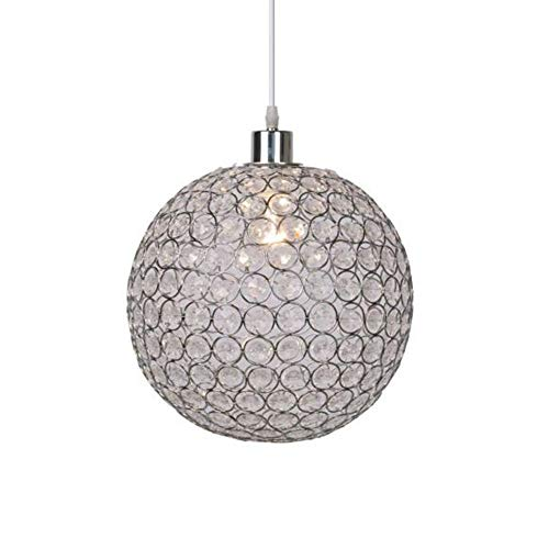 MZSG Moderne Runde Kugel Eisen Kronleuchter, Durchmesser 15CM E27 LED-Lampen Einfache Kristall Pendelleuchte, Glanz Hängelampe