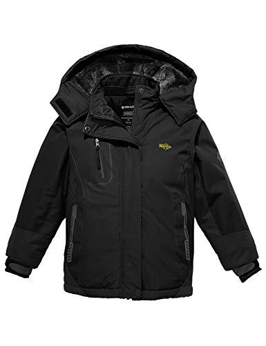 Wantdo Girl Winter Ski Fleece Jacket Waterproof Breathable Raincoats Black 10/12