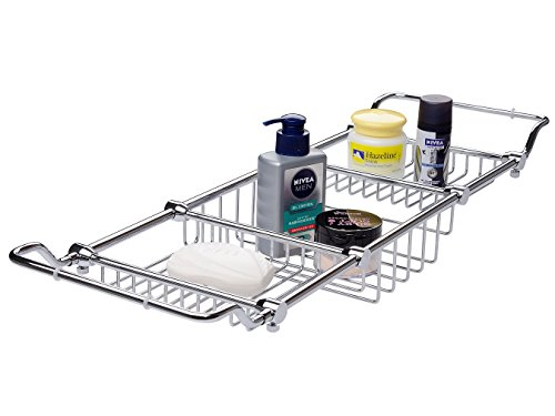 Magionline Brass Over Bathtub Racks Expandable Bath Caddy for The Elegant Tub Chrome Polished