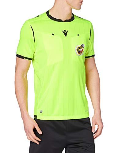 Macron Rfef 20 Match Day Man Shirt Referee SS Nyel/Blk Sr Camiseta árbitro neón Real Federación Española de Fútbol, Hombre, Amarillo Fluo, L
