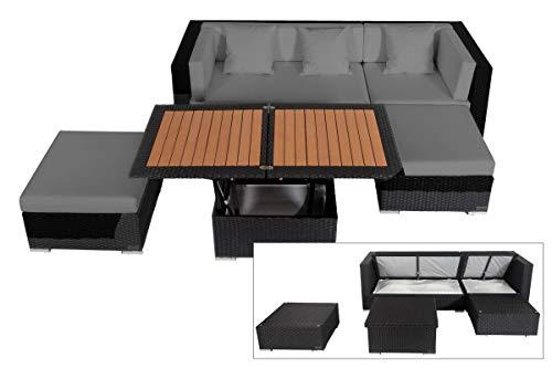 OUTFLEXX Loungemöbel-Set, schwarz aus Polyrattan-Geflecht, Loungeecke für 5 Personen, wasserfeste Kissenbox, inkl. Loungetisch