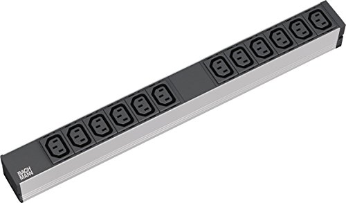 BACHMANN 333.616 Steckdosenleiste 19 Zoll, 1 HE, 12 x C13 Verriegelung, Zuleitung 2 m, Grau