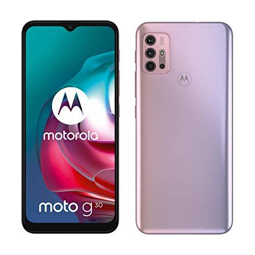 Motorola Moto g30 (Pantalla de 6.5' 90Hz, Qualcomm Snapdragon, sistema de cuatro cámaras de 64MP, batería de 5000 mAH, Dual SIM, 6/128 GB, Android 11), Rosa [Versión ES/PT]