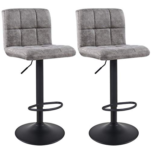 Duhome Bar Stools Set of 2 with Back Modern Tech Fabric Adjustable Hydraulic Swivel Barstools Square Counter Height Stool Smoky Grey