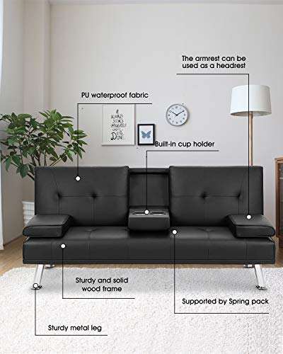 MOOSENG Faux Leather Convertible Futon Removable Armrests/Metal Legs, 2 Cupholders Sofa Bed,...