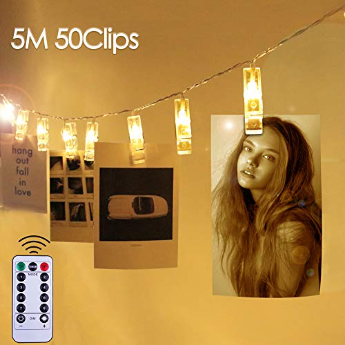 LED Foto Lichterkette mit Fernbedienung, CENXINY LED Foto Clips Lichterkette für Innenräume Stimmungsbeleuchtung 50 LEDs 5M 8 Modi LED Fotoclips Batterien Betrieb