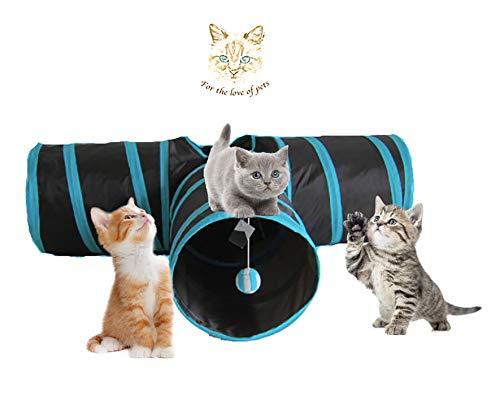 Angel's Pride Katzentunnel, Katze Spielzeug Hundespielzeug Spieltunnel Rascheltunnel Faltbarer 3-Wege-Spiel Tunnel für Kaninchen Hasen Katzen Hunde und Kleintiere