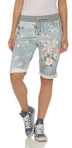CLEOSTYLE Kurze Damen Bermuda, leichte luftige Hose für den Sommer, kurzer Jogger für Freizeit und Strand 9 (Hellblau)
