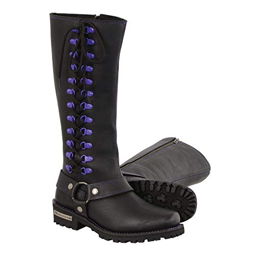 Milwaukee Leather MBL9366 Ladies Black 14 Inch Leather Harness Boots with Purple Accent Lacing - 7