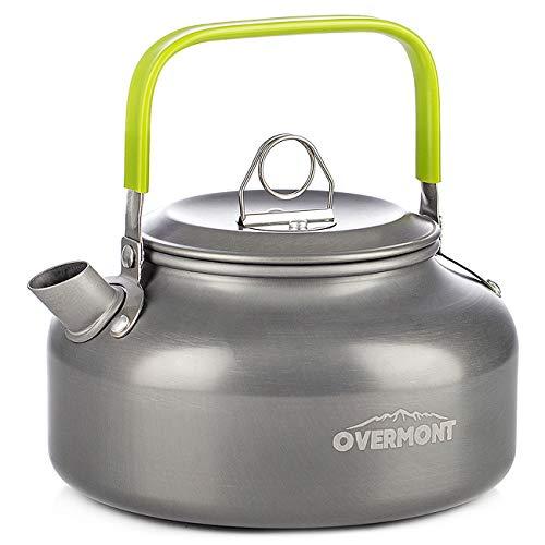 Overmont Camping Wasserkocher Kessel Teekanne Kaffeekanne Tragbar Aluminium FDA genehmigt für Outdoor Picknick Wandern 0,8I