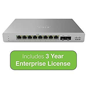 Cisco Meraki MS120-8 Cloud-Managed Compact Switch – 8x 1GbE Ports, 2x 1G (SFP) Uplink Interfaces – Incl. 3 Yr Enterprise License