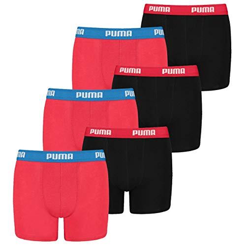 PUMA 8 er Pack Boxer Boxershorts Jungen Kinder Unterhose Unterwäsche, Farbe:786 - Red/Black, Bekleidung:176