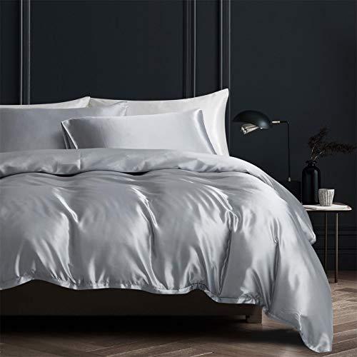 Damier Juego de ropa de cama de 220 x 240 cm, color gris brillante, juego de ropa de cama de 3 piezas, funda nórdica con cremallera y 2 fundas de almohada de 80 x 80 cm