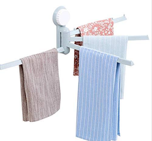 CMDDYY Handtuchständer-180 ° rotierende, punktionsfreie Saugnapfstange für Badezimmer, Familie, DREI Farben,Blue,29.5 * 16.2 * 6.6cm
